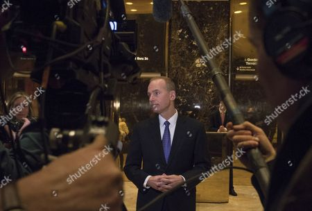 Dennis A. Muilenburg, Boeing president and chief executive officer, speaks to media after a meeting in Trump Tower in New York City, NY, USA, 17 January 2017. US President-elect Donald Trump is still holding meetings upstairs at Trump Tower just 3 days before the inauguration.