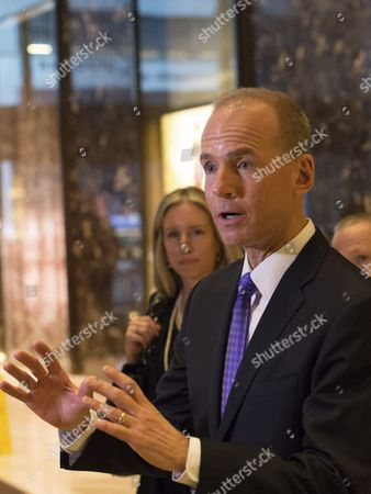 Stock Photo of Dennis A. Muilenburg, Boeing president and chief executive officer, speaks to media after a meeting in Trump Tower in New York City, NY, USA, 17 January 2017. US President-elect Donald Trump is still holding meetings upstairs at Trump Tower just 3 days before the inauguration.