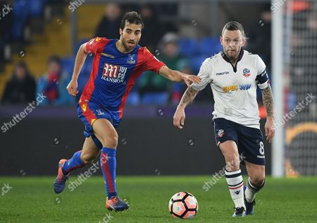 Jay Spearing of Bolton Wanderers battles with Mathieu Flamini of Crystal Palace during the Emirates FA Cup Third Round Replay between Crystal Palace and Bolton Wanderers played at Selhurst Park, London on 17th January 2017