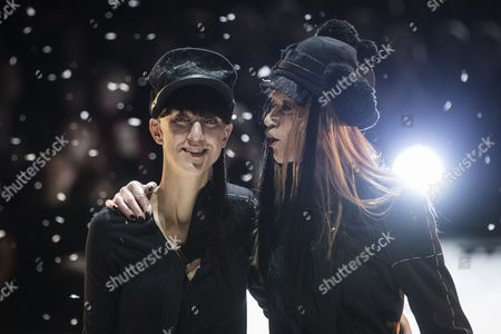 Stock Picture of German designer Esther Perbandt (l) is embraced by German actress and model Vera Graefin von Lehndorff after her show as part of the Mercedes-Benz Fashion Week Berlin in Berlin, Germany, 17 January 2017. The Mercedes-Benz Fashion Week Berlin runs from 17 to 20 January.