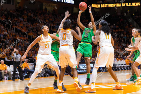 Lindsay Allen #15 of the Notre Dame Fighting Irish shoots the ball over Jordan Reynolds #0 and Mercedes Russell #21 of the Tennessee Lady Volunteers during the NCAA basketball game between the University of Tennessee Lady Volunteers and the Notre Dame Fighting Irish at Thompson Boling Arena in Knoxville TN Tim Gangloff/CSM