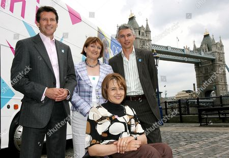 (l-r) Lord Coe Chairman of Locog Tessa Jowell Secretary of State Tanni Grey-thompson Paralympian and Olympian Jonathon Edwards Pose For Photographs in Front of the Official London 2012 Roadshow Bus in Central London 13 June 2007 the 2012 Roadshow Will Tour Britain Making 27 Stops Over a Ten Week Period Encouraging Young People Across the Nation to Get Involved in Sports