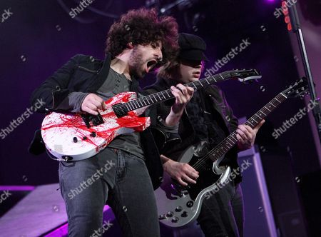 Joe Trohman (l) and Patrick Stump (r) of Fall out Boy Performs at the Verizon Wireless Amphitheater in Indianapolis Indiana 12 June 2007