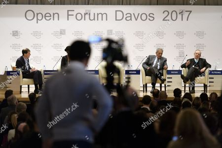 The panel with Daniel Shapiro, Harvard University, Amre Moussa, former secretary-general of the League of Arab States, and Pier Carlo Padoan, Minister of Economy and Finance, from left, pictured during a panel session during the 'Open Forum' on the sidelines of the 47th Annual Meeting of the World Economic Forum (WEF) in Davos, Switzerland, 18 January 2017. The annual meeting brings together business leaders, international political leaders and select intellectuals, to discuss the pressing issues facing the world. The overarching theme of the 2017 meeting, which takes place from 17 to 20 January, is 'Responsive and Responsible Leadership'.