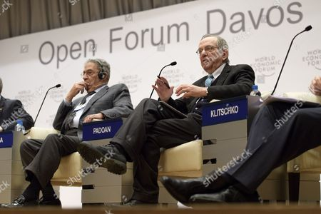 (L-R) Amre Moussa,former secretary-general of the League of Arab States, and Pier Carlo Padoan, Minister of Economy and Finance of Italy, are pictured during a panel session during the 'Open Forum' on the sidelines of the 47th Annual Meeting of the World Economic Forum (WEF) in Davos, Switzerland, 18 January 2017. The annual meeting brings together business leaders, international political leaders and select intellectuals, to discuss the pressing issues facing the world. The overarching theme of the 2017 meeting, which takes place from 17 to 20 January, is 'Responsive and Responsible Leadership'.