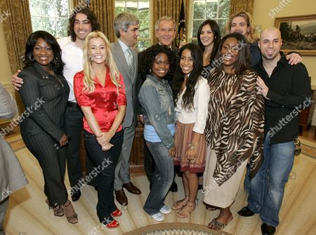 Stock Photo of Us President George W Bush (back Row Center) Poses For Pictures with the Top Ten Finalists From the Talent Search Program American Idol (clockwise From the Rear Left) Ace Young Taylor Hicks Bush Katharine Mcphee Bucky Covington Chris Daughtry Mandisa Hundley Lisa Tucker Paris Bennett Kellie Pickler and Jamecia Bennett (mother of Paris Bennett) in the Oval Office of the White House in Washington Dc On Friday 28 July 2006