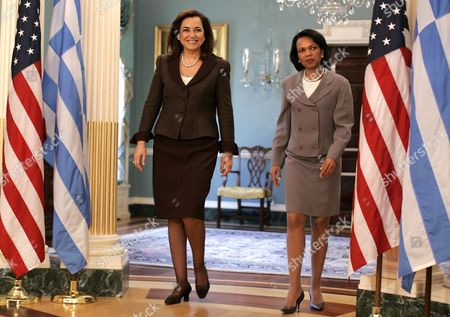 U S Secretary of State Condoleezza Rice (r) and Greek Foreign Minister Dora Bakoyianni Arrive For a Photo Opportunity at the State Department in Washington Dc On Thursday 22 March 2007