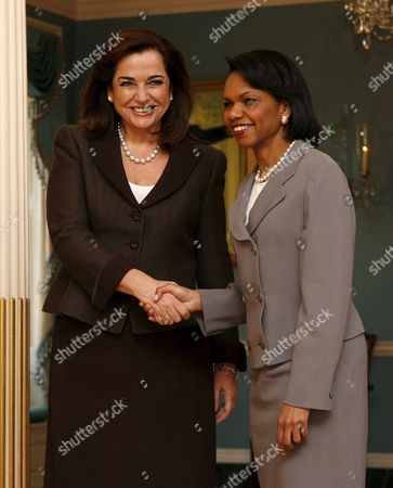 Us Secretary of State Condoleezza Rice (r) Shakes Hands with Greek Foreign Minister Dora Bakoyianni During a Photo Opportunity at the State Department in Washington Dc On Thursday 22 March 2007