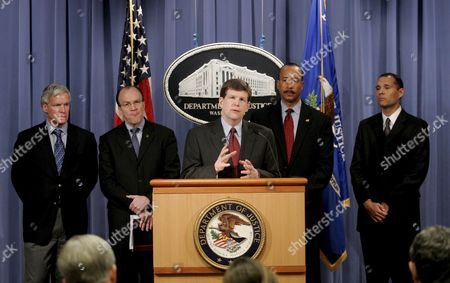 (l-r) Mark W Everson Irs Commissioner Stuart Bowen Special Inspector General For Iraq Reconstruction Deputy Attorney General Paul Mcnulty Mike Mason Executive Assistant Director of the Criminal Branch Fbi and Kumar Kibble National Security Division Deputy Assistant Director Ice Are Seen at a News Conference at the Us Department of Justice in Washington Dc On 07 February 2007 the Officials Discussed an Indictment That Was Unsealed Today Which Alleges a Conspiracy Between Coalition Provisional Authority Officials Military Officers and Private Citizens to Steal Money Intended For Contracts to Rebuild Iraq After the American Invasion