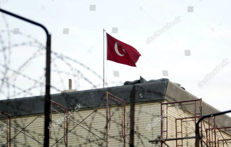 Stock Photo of A Turkish Flag Flutters at the Turkish Embassy in Baghdad On Monday 02 January 2006 Iraqi Police Said Monday Gunmen Have Attacked the Convoy of the Turkish Ambassador to Iraq Unal Cevikoz Injuring Him Slightly