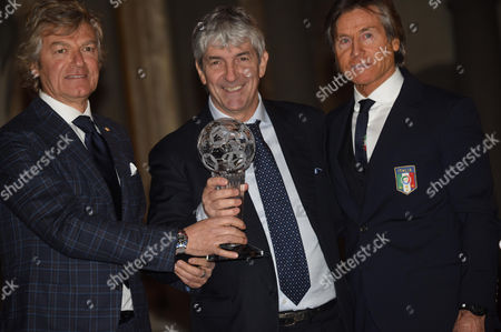 The former soccer players Giancarlo Antognoni Paolo Rossi and Gabriele Oriali