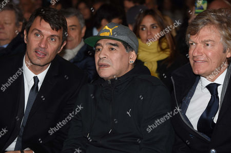 Former soccer players Paolo Maldini, Diego Maradona and Giancarlo Antognoni duirngt the Hall of Fame