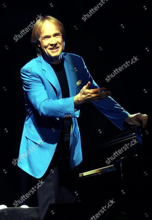 The American Romantic Pianist Richard Clayderman Greets the Audience During His Concert Late Saturday 12 February 2005 in Beirut Lebanon