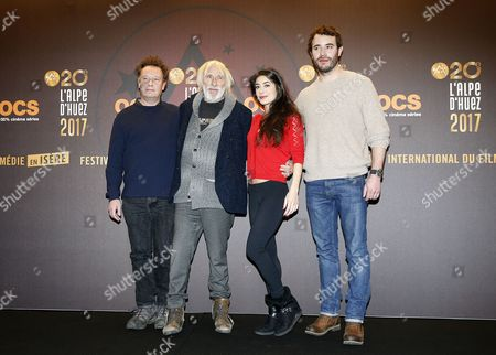 French director Stephane Robelin (L), French actors Pierre Richard (2-L), Fanny Valette (2-R) and Yaniss Lespert (R) pose during the photocall for 'Un profil pour deux' at the 20th annual International Comedy Film Festival, in l'Alpe d'Huez, France, 18 January 2017. The festival runs from 17 to 22 January.