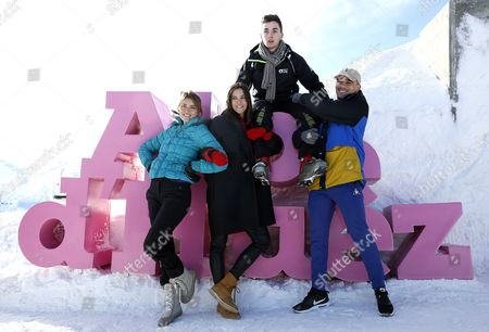 French actors Andy (L),  Charlotte Gabris (2-L), Panayotis Pascot (2-R) and Mister V (R) pose during the photocall for 'Le coup de Projecteur 2017' at the 20th annual International Comedy Film Festival, in l'Alpe d'Huez, France, 18 January 2017. The festival runs from 17 to 22 January.