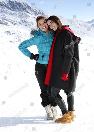 French actress Andy (L) and Charlotte Gabris (R) pose during the photocall for 'Le coup de Projecteur 2017' at the 20th annual International Comedy Film Festival, in l'Alpe d'Huez, France, 18 January 2017. The festival runs from 17 to 22 January.
