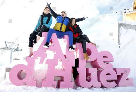 French actors Andy (L), Mister V (C) and Charlotte Gabris (R) pose during the photocall for 'Le coup de Projecteur 2017' at the 20th annual International Comedy Film Festival, in l'Alpe d'Huez, France, 18 January 2017. The festival runs from 17 to 22 January.