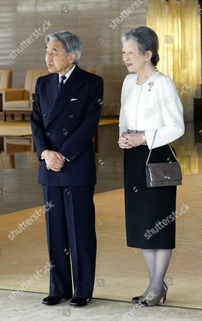 Japan's Empress Michiko (r) and Emperor Akihito Wait For the Arrival of Finnish President Tarja Halonen and Her Husband Dr Pentti Arajarvi at the Imperial Palace in Tokyo Thursday 21 October 2004 Halonen is On a State Visit to Japan From October 19th to 24th