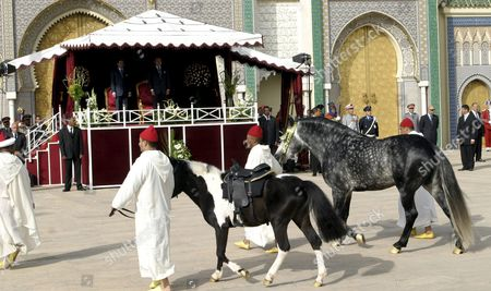 Moroccans Take Part in a Gift-offering Procession For Crown Prince Moulay El Hassan On the Occasion of His Circumcision at the Royal Palace in Fez Morocco Thursday 14 April 2005