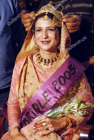 Winning Bride Ayesha Malik Wears Her Crown After Being Named Bride of the Year 2003 Wednesday 31 December 2003 During a Bridal Show in Multan Organized by the Leading Beauty Parlors of the Country