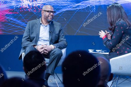 Stock Photo of Forest Whitaker, Social Activist and Sustainable Development Goals Advocate, Whitaker Peace & Development Initiative, USA, Zeinab Badawi, Presenter, BBC World News