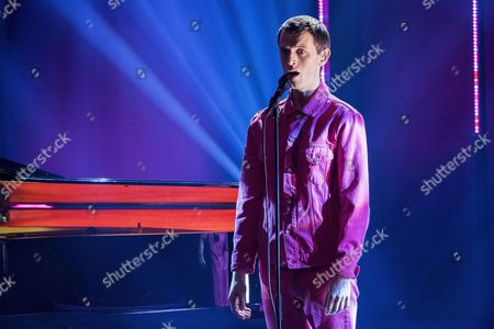 """Stock Photo of Nils Bech, born 1981, is a musician and performance artist from Norway, known from Norwegian TV series Skam (Shame), performs """"A Sudden Sickness"""""""