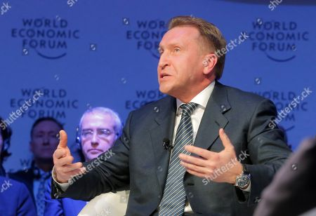 Russian Deputy Prime Minister Igor Shuvalov attends a session on the third day of the annual meeting of the World Economic Forum in Davos, Switzerland