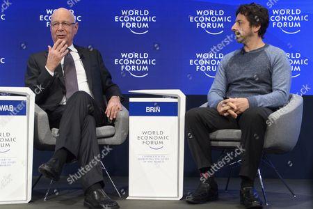Sergey Brin and Klaus Schwab