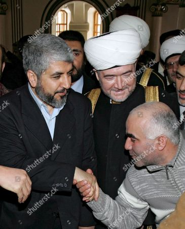 Palestinian Hamas Leader Khaled Meshaal (l) Arrives For a Meeting with Muslim Mufti Ravil Gainutdin at a Moscow Mosque 4 March 2006 Russia is Counting On Hamas As a Leading Political Force in Palestine to Contribute to the Implementation of Agreements Reached Earlier Between Palestine and Israel