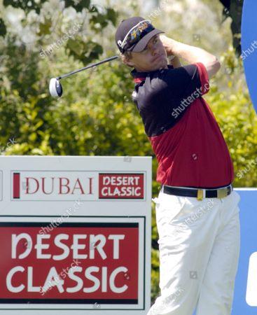 Joakim Haeggman of Sweden Tees Off On the Last Day of the Dubai Desert Classic Sunday 07 March 2004