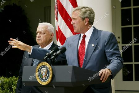 Us President George W Bush (r) Joins with Israeli Prime Minister Ariel Sharon As the Two Leaders Made Brief Statements in the Rose Garden at the White House in Washington Dc Tuesday 29 July 2003 Earlier Sharon and Bush Met in the Oval Office to Discuss the Middle East Peace Process Epa Photo/epa/shawn Thew United States Washington