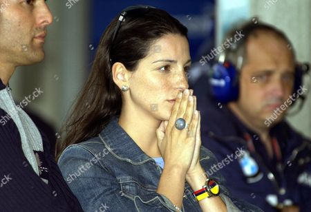 Connie Montoya Wife of Colombian Formula One Pilot Juan Pablo Montoya of Bmw-williams Watches Her Husband in Action During the First Free Training at the Indianapolis Circuit 26 September 2003 Prior to Sundy's United States Grand Prix Epa Photo/epa/tannen Maury// United States Indianapolis