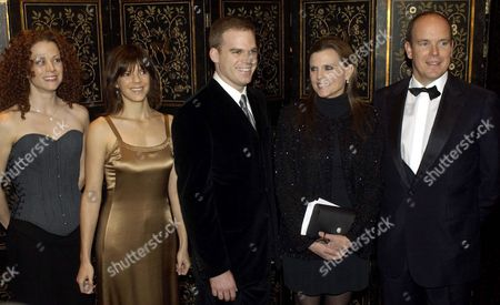 Actress Liz Parkinson(l-r) Television Writer Kate Robin Actor Michael C Hall Actress Ann Reinking and Hsh Crown Prince Albert of Monaco Pose For a Picture Before the Start of the 2003 Princess Grace Awards Gala On Tuesday Evening 28 October 2003 at the Waldorf-astoria in New York