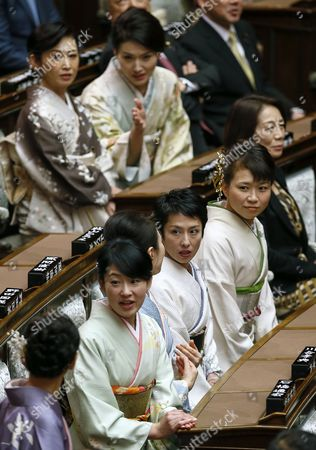 Japanese kimono-clad parliamentary members, including Renho Murata (C), leader of Japan's opposition Democratic Party of Japan, wait for Japanese Emperor Akihito to deliver the opening address for the 150-day ordinary Diet session at the parliament in Tokyo, Japan, 20 January 2017. According to media reports, legislators discussed the parameters for the legal foundation of allowing Emperor Akihito to abdicate the throne.