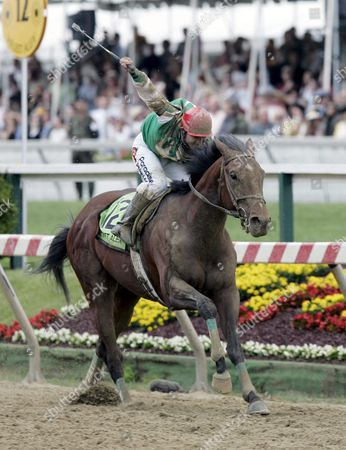 Afleet Alex with Jeremy Rose Smith Onboard Drives to the Finish Line to Win the 130th Running of the Preakness Stakes at Pimlico Race Course in Baltimore Maryland Saturday 21 May 2005