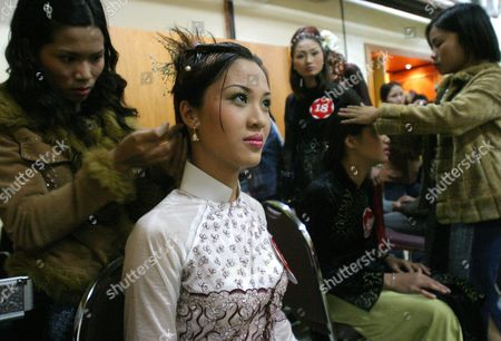 Nguyen Phuong Anh 19 Sits For Make-up Before the Start of the Miss Universe-hanoi Beauty Pageant at the Melia Hotel in Hanoi Saturday 20 December 2003 Amelia Vega From the Dominican Republic Miss Universe 2003 Was On Hand to Crown the Winner of the Contest Who Would Go On to Represent Vietnam in the Miss Universe 2004 Contest
