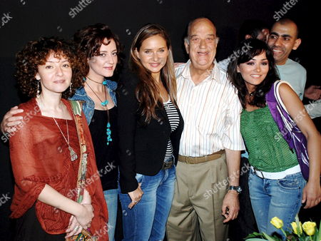(l-r) Writer Nadin Shams Egyptian Actress Carolin Khalil Egyptian Actress Nelly Karim Egyptian Star Hassan Housni and Egyptian Actress Randa Elbheri Smile For Photographers During the Celebration of Start Shooting the New Movie Ehna Etabelna Abl Keda Which is Written by Nadin Shams Directed by Hesham Shafay and Produced by Stoudio Masr For Film Production