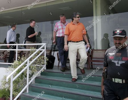 Pakistan's Cricket Board (pcb) Director of Cricket Operations Zakir Khan (2 R) Accompanies Michel Brown (3 R) General Manager Operation Cricket Australia (ca)and His Security Team During a Visit of Gaddafi Cricket Stadium in Lahore Pakistan 17 July 2007 a High-level Security Delegation of Cricket Australia (ca) is Currently Visiting Pakistan to Determine the Feasibility of Undertaking Tours by the Australian Junior and Senior Teams This Season