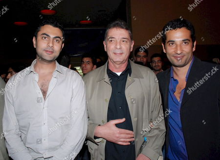 A Picture Made Available On 24 March 2008 Shows (l-r) Egyptian Actors Mohamed Karim Mahmoud Hemeda and Amr Saad Pose For Photographers During the Movie Premiere of 'Ginenet Alasmak' (fish Park) in Cairo Egypt 23 March 2008