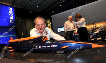Project Leader Richard Noble Poses with the Model of the Model of a Car Named 'Bloodhound' That Will Attempt to Break the Current Land Speed Record and Reach 1000mph the Car Will Be Powered by a Typhoon-eurofighter Jet Engine and Will Make the Record Attempt in 2011 the Presentation Was Held in London's Science Museum 23rd October 2008