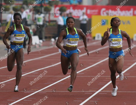 Lauryn Williams Usa (c) Beats Jamiaca's Shelly Ann Fraser (r) and Great Britain's Jeanette Kwakye to the Finish Line in the Women's 100 Metres at the Aviva British Athletics Grand Prix at Gateshead International Stadium in Northeast Britain On 31 August 2008