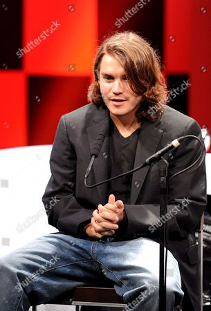 Us Actor Emile Hirsch (c) Speaks at a Press Conference to Promote His Film Speed Racer at a Hotel in Tokyo 30 June 2008 the Film Opens in Theaters in Japan From July 5