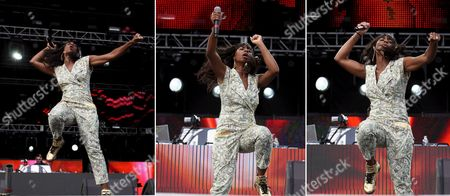 A Composite Picture Shows Us Singer-songwriter Santigold Formerly Known As Santogold Whose Real Name is Santi White Perform in Concert at the Ultra Music Festival in Miami Florida Usa 27 March 2009 the Performer Had to Change Her Onstage and Recording Moniker to Avert Legal Action by Jeweler Santo Gold Media Report