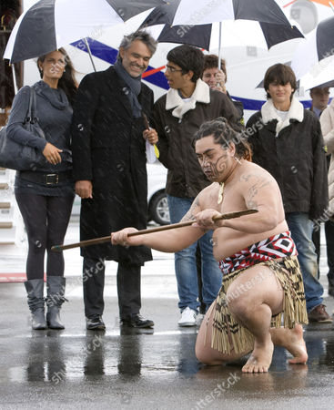 Andrea Bocelli arriving at Auckland Airport, to a traditional Maori Powhiri welcome, with his fiancee, Veronica Berti and his sons Amos (13) and Matteo (10)