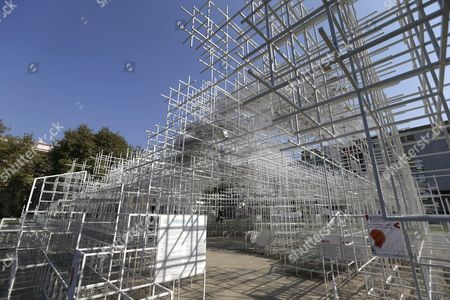 The 541 Square Meters Structure Called 'The Cloud' Made by Japanese Artist Sou Fujimoto is Displayed at the Centre of Tirana Albania 27 September 2016 the Artwork Has Two Entrances and was Created For the Visitors to Interact with the Walls Seating and Roof of the Structure That Were Made From Steel Albania Tirana