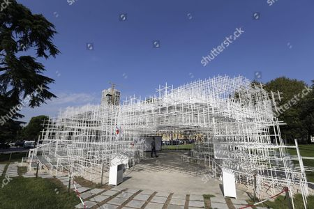 A Men Visits the 541 Square Meters Structure Called 'The Cloud' Made by Japanese Artist Sou Fujimoto is Displayed at the Centre of Tirana Albania 27 September 2016 the Artwork Has Two Entrances and was Created For the Visitors to Interact with the Walls Seating and Roof of the Structure That Were Made From Steel Albania Tirana
