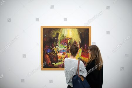A Picture Made Available on 29 April 2016 Shows Visitors Looking at the Painting 'Crucifixion (after Rembrandt)' of Austrian Painter and Performance Artist Hermann Nitsch During a Special Guided Tour by Nitsch (unseen) of the Exhibition 'Body Psyche and Taboo - Vienna Actionism and Early Vienna Modernism' (koerper Psyche and Tabu - Wiener Aktionismus and Die Fruehe Wiener Moderne) at the Mumok (museum Moderner Kunst Stiftung Ludwig Wien) in Vienna Austria on 28 April 2016 the Exhibition Opens to the Public From 04 March to 16 May 2016 Austria Vienna