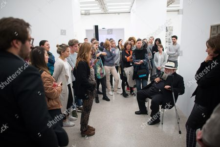 A Picture Made Available on 29 April 2016 Shows Austrian Painter and Performance Artist Hermann Nitsch (c Seated) Talking to Participants During a Special Guided Tour of the Exhibition 'Body Psyche and Taboo - Vienna Actionism and Early Vienna Modernism' (koerper Psyche and Tabu - Wiener Aktionismus and Die Fruehe Wiener Moderne) at the Mumok (museum Moderner Kunst Stiftung Ludwig Wien) in Vienna Austria on 28 April 2016 the Exhibition Opens to the Public From 04 March to 16 May 2016 Austria Vienna