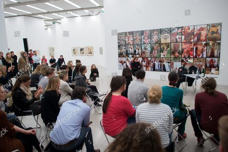 A Picture Made Available on 29 April 2016 Shows Austrian Painter and Performance Artist Hermann Nitsch (back R) Talking to Participants During a Special Guided Tour of the Exhibition 'Body Psyche and Taboo - Vienna Actionism and Early Vienna Modernism' (koerper Psyche and Tabu - Wiener Aktionismus and Die Fruehe Wiener Moderne) at the Mumok (museum Moderner Kunst Stiftung Ludwig Wien) in Vienna Austria on 28 April 2016 the Exhibition Opens to the Public From 04 March to 16 May 2016 Austria Vienna