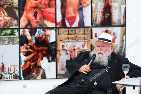 Stock Image of A Picture Made Available on 29 April 2016 Shows Austrian Painter and Performance Artist Hermann Nitsch Talking to Participants During a Special Guided Tour of the Exhibition 'Body Psyche and Taboo - Vienna Actionism and Early Vienna Modernism' (koerper Psyche and Tabu - Wiener Aktionismus and Die Fruehe Wiener Moderne) at the Mumok (museum Moderner Kunst Stiftung Ludwig Wien) in Vienna Austria on 28 April 2016 the Exhibition Opens to the Public From 04 March to 16 May 2016 Austria Vienna